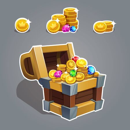 Receiving the cartoon treasure. Cartoon chest set with coin and rhinestone for game interface Vector illustration. Ilustração