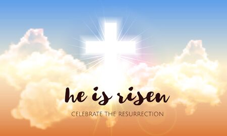 He is risen. Easter banner background with clouds, divine sunlight , crucifixion, cross and sun rise. Vector illustration 일러스트