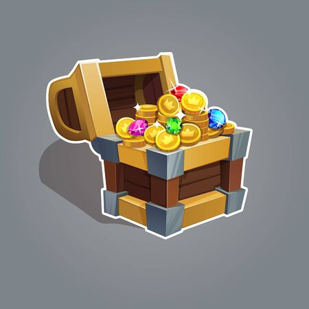 Receiving the cartoon treasure. Cartoon chest set with coin and rhinestone for game interface Vector illustratio