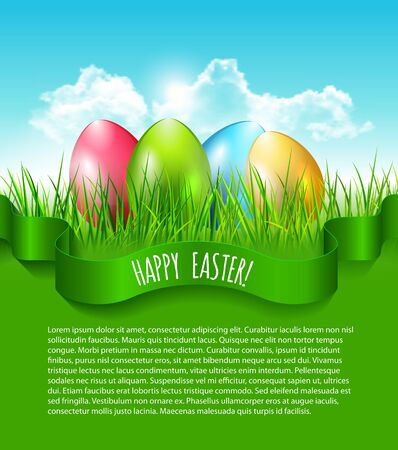 Easter background with eggs in grass and blue sky with clouds and place fot your text. Vector