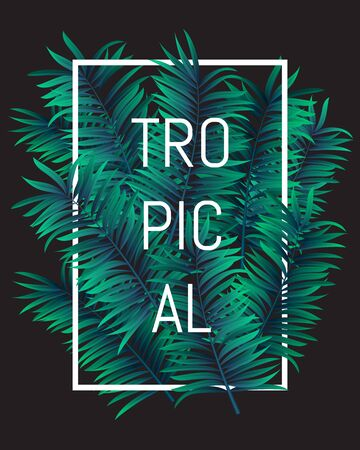 Summer tropical concept, tropical paradise with palm leaves, vector image. EPS 10