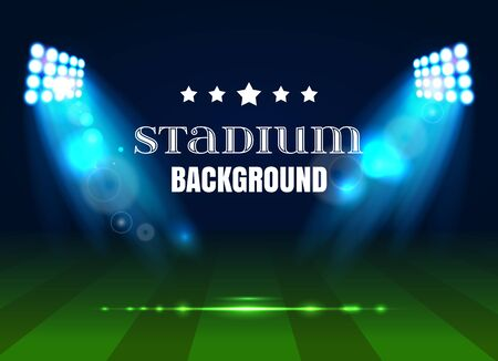 Soccer match, stadium with light . Football poster background. Stadium background with bright spotlights, stadium floodlights background.Vector illustration EPS 10.