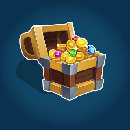 Set of golden coins in chest for game interface. Vector illustration. EPS 10.