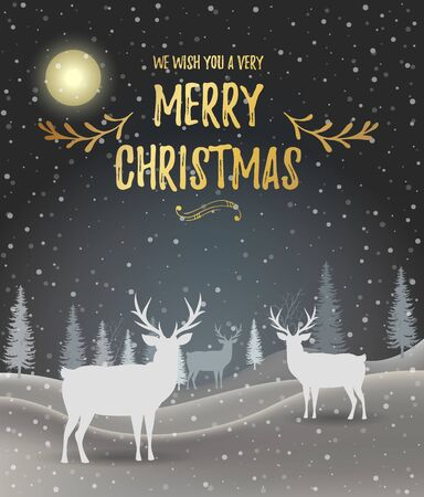 Christmas card. Holiday winter landscape. Winter christmas background with fir tree. Merry Christmas handdraw style lettering . Silhouettes of deer in a winter landscape. Vector illustration. EPS 10 Vettoriali