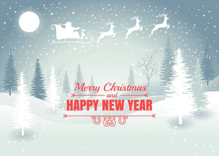 Holiday winter landscape background with Santa Claus on the sky with winter tree. Merry Christmas and Happy New Year. Vector. Vektorové ilustrace
