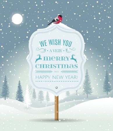 Wooden sign board with Christmas greeting on winter landscape with snow-covered forest and bullfinch. Holiday winter landscape background with winter tree. Merry Christmas and Happy New Year. Vector. Ilustracje wektorowe