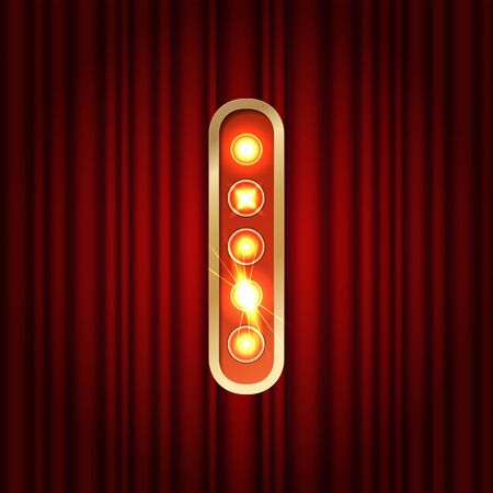 Realistic retro gold lamp bulb font letter I. Part of alphabet in vintage casino and slots style. Vector shine symbol of alphabet with golden light and sparkles on red curtains background show style