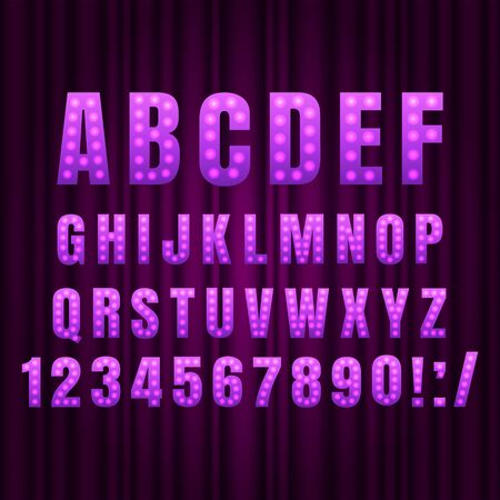 Purple Realistic retro gold lamp font letters. Broadway style light bulb alphabet in vintage casino and slots style. Vector shine symbols with light and sparkles on curtains background show style