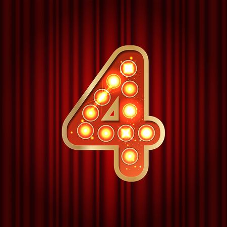 Realistic retro gold lamp bulb number 4. Part of alphabet in vintage casino and slots style. Vector shine symbol of alphabet with golden light and sparkles on red curtains background show style Vettoriali
