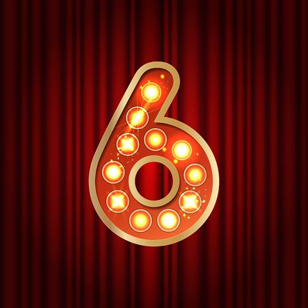 Realistic retro gold lamp bulb font number 6. Part of alphabet in vintage casino and slots style. Vector shine symbol of alphabet with golden light and sparkles on red curtains background show style Vettoriali