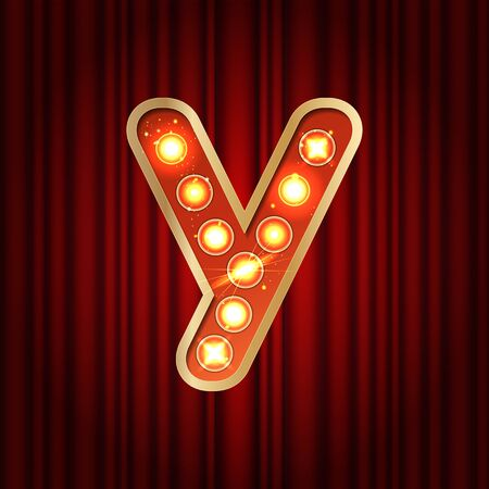 Realistic retro gold lamp bulb font letter Y. Part of alphabet in vintage casino and slots style. Vector shine symbol of alphabet with golden light and sparkles on red curtains background show style