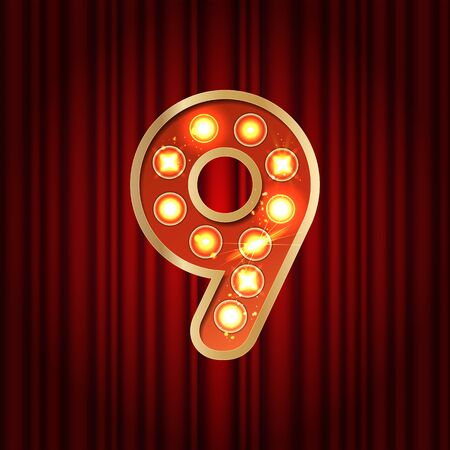 Realistic retro gold lamp bulb font number 9. Part of alphabet in vintage casino and slots style. Vector shine symbol of alphabet with golden light and sparkles on red curtains background show style
