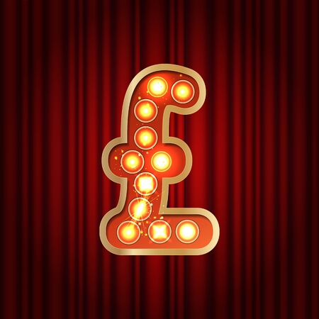 Realistic retro gold lamp bulb font money symbol pound. Part of alphabet in vintage casino and slots style. Vector shine symbol of alphabet with golden light and sparkles on red curtains background Vettoriali