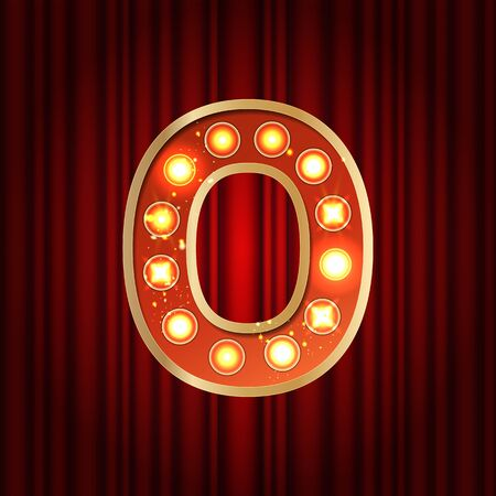 Realistic retro gold lamp bulb number 0. Part of alphabet in vintage casino and slots style. Vector shine symbol of alphabet with golden light and sparkles on red curtains background show style