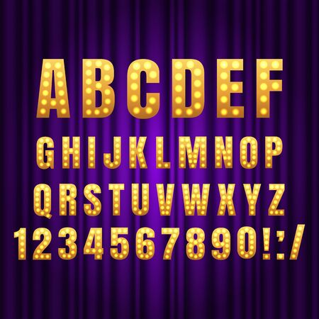 Realistic retro gold lamp font letters. Broadway style light bulb alphabet in vintage casino and slots style. Vector shine symbols with golden light and sparkles on purple curtains background show style
