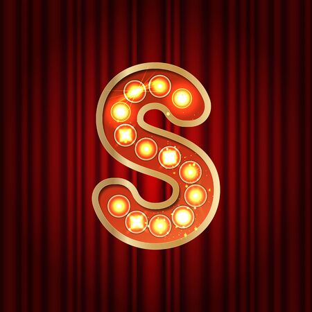 Realistic retro gold lamp bulb font letter S. Part of alphabet in vintage casino and slots style. Vector shine symbol of alphabet with golden light and sparkles on red curtains background show style Vettoriali