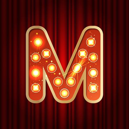 Realistic retro gold lamp bulb font letter M. Part of alphabet in vintage casino and slots style. Vector shine symbol of alphabet with golden light and sparkles on red curtains background show style