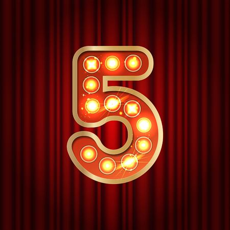 Realistic retro gold lamp bulb font number 5. Part of alphabet in vintage casino and slots style. Vector shine symbol of alphabet with golden light and sparkles on red curtains background show style