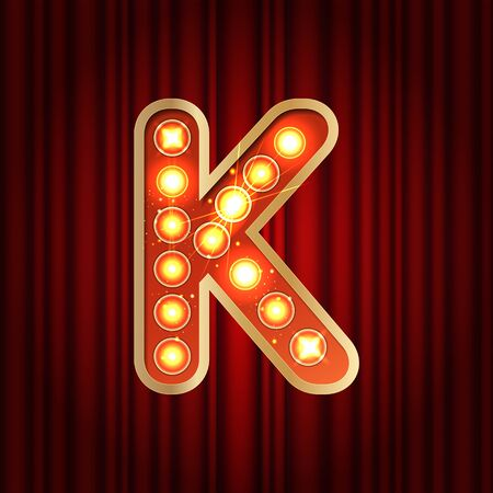 Realistic retro gold lamp bulb font letter K. Part of alphabet in vintage casino and slots style. Vector shine symbol of alphabet with golden light and sparkles on red curtains background show style Illustration