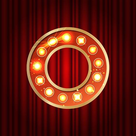 Realistic retro gold lamp bulb font letter O. Part of alphabet in vintage casino and slots style. Vector shine symbol of alphabet with golden light and sparkles on red curtains background show style