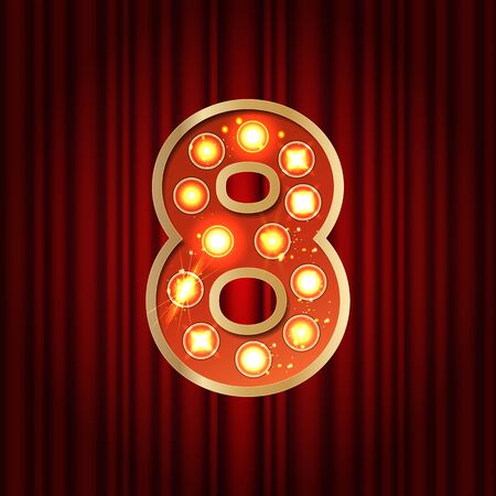 Realistic retro gold lamp bulb font number 8. Part of alphabet in vintage casino and slots style. Vector shine symbol of alphabet with golden light and sparkles on red curtains background show style