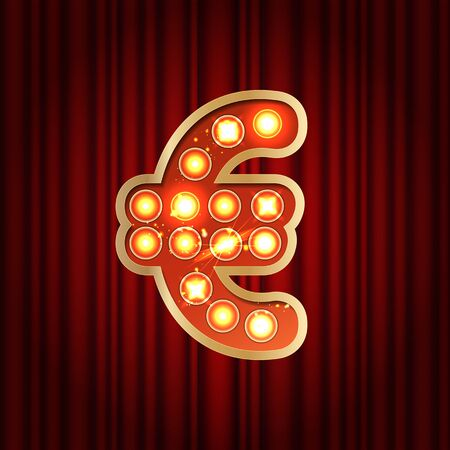 Realistic retro gold lamp bulb font money symbol euro. Part of alphabet in vintage casino and slots style. Vector shine symbol of alphabet with golden light and sparkles on red curtains background