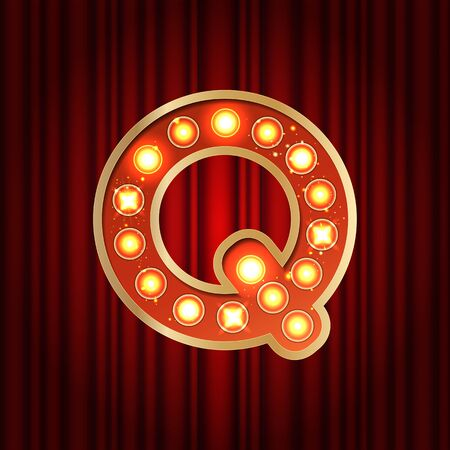 Realistic retro gold lamp bulb font letter Q. Part of alphabet in vintage casino and slots style. Vector shine symbol of alphabet with golden light and sparkles on red curtains background show style