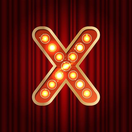 Realistic retro gold lamp bulb font letter X. Part of alphabet in vintage casino and slots style. Vector shine symbol of alphabet with golden light and sparkles on red curtains background show style