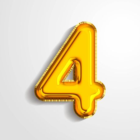 Gold metallic helium alphabet balloon foil number 4 four realistic 3d render air balloon. Collection of golden balloon number set Vector illustration.