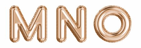 Gold foil balloon alphabet set letter M, N, O realistic 3d illustration metallic pink gold air balloon. Collection of balloon alphabet ready to use in headlines, greeting, celebration vector eps