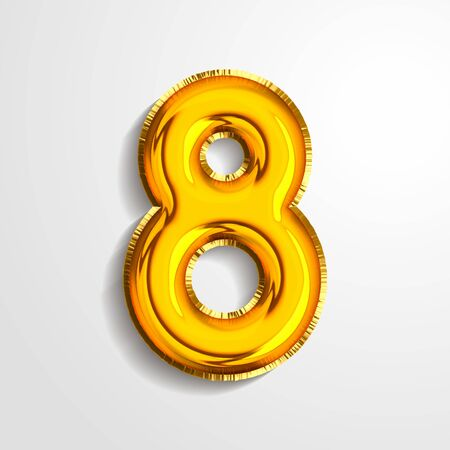 Gold metallic helium alphabet balloon foil number 8 eight realistic 3d render air balloon. Collection of golden balloon number set Vector illustration. Vettoriali