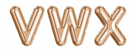 Gold foil balloon alphabet set letter V, W, X realistic 3d illustration metallic pink gold air balloon. Collection of balloon isolated ready to use in headlines, greeting, celebration vector eps