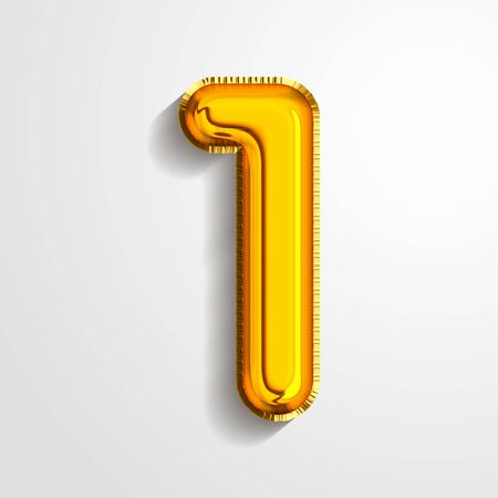 Gold metallic helium alphabet balloon foil number 1 one realistic 3d render air balloon. Collection of golden balloon number set Vector illustration.