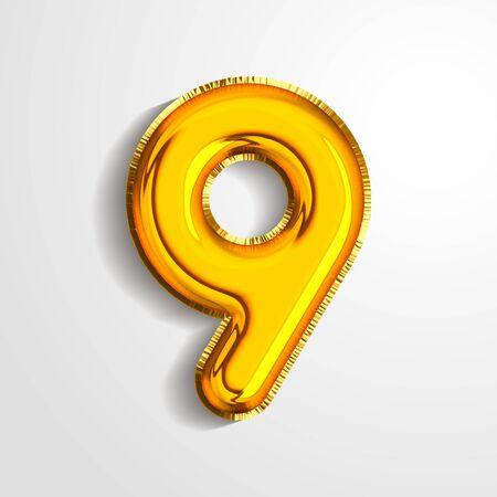 Gold metallic helium alphabet balloon foil number 9 nine realistic 3d render air balloon. Collection of golden balloon number set Vector illustration.