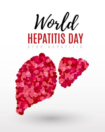 Vector illustration of a Liver and cell for World Hepatitis Day