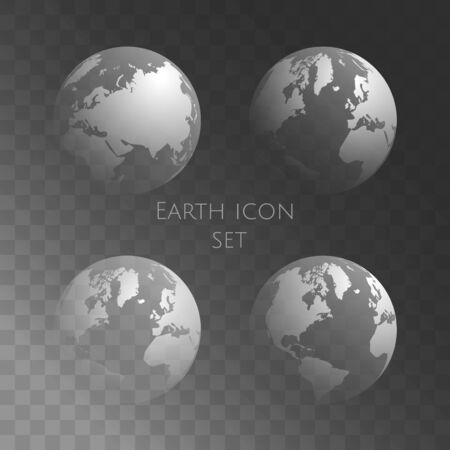Transparent globe set. Vector earth globe on dark transparent background. Easy to replace background. Vector illustration. EPS 10