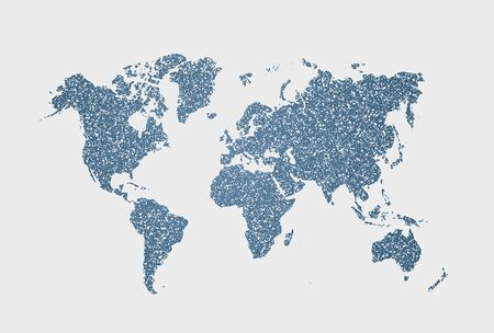 Isolated vector white and blue dotted world map on white background. Computer abstract infographic for presentation.