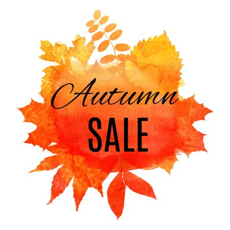 Autumn leaf foliage watercolor .Autumn sale. Fall sale. Web banner or poster for e-commerce, on-line cosmetics shop, fashion beauty shop, store. Vector illustration. EPS 10 Ilustracja