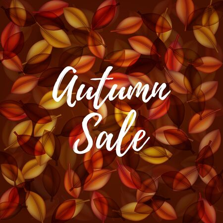 Falling orange leaves on dark background. Autumn sale . Web banner or poster for e-commerce, on-line cosmetics shop, fashion beauty shop, store. Vector illustration. EPS 10