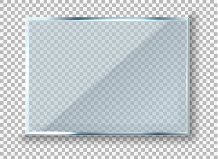Vector modern transparent reflecting glass banner. Glass rectangle Plate Isolated On Transparent Background reflection 3d panel texture or clear window on display background frame.