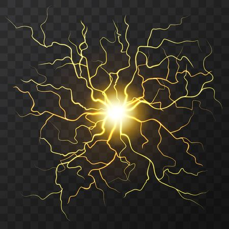 Gold Electric flash of lightning on a dark transparent background. Vector circle lightning or electricity blast storm or thunderbolt . Natural cosmic phenomenon or human nerve system