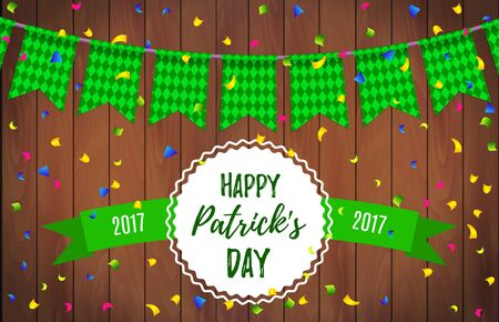 Happy St. Patricks Day garland with green checkered pattern and lettering Happy Patricks day with ribbon on a wooden background. Ireland beer fest background celebrate with beautiful garland. Vector