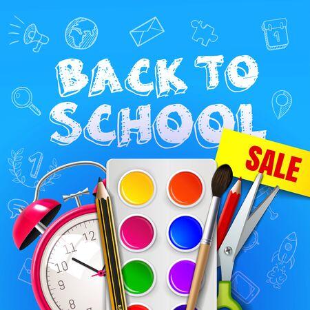 Welcome back to school vector illustration. ALarm clock, paint, brush, pencil, ruler, scissors EPS 10
