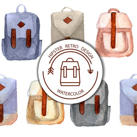 Various watercolor retro backpacks, briefcases in hipster style.