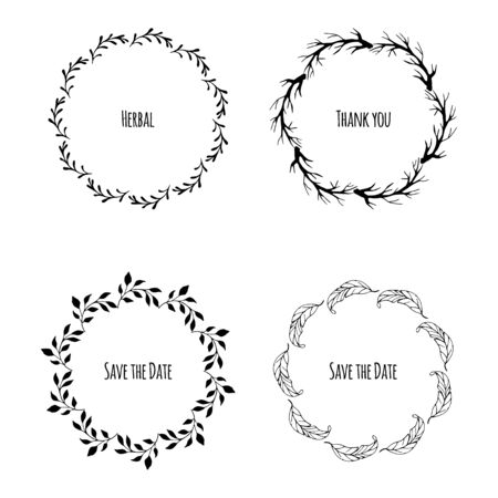 Vector set of floral wreaths. Hand drawn doodles. Flowers and laurels. Hand drawn vintage plant wreath set with place for your text Vettoriali