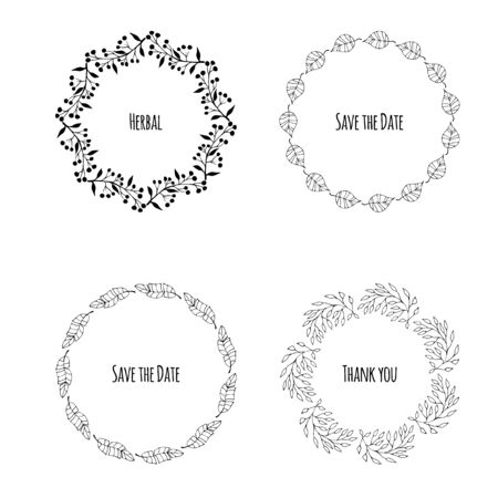 Vector set of floral wreaths. Hand drawn doodles. Flowers and laurels. Hand drawn vintage plant wreath set with place for your text