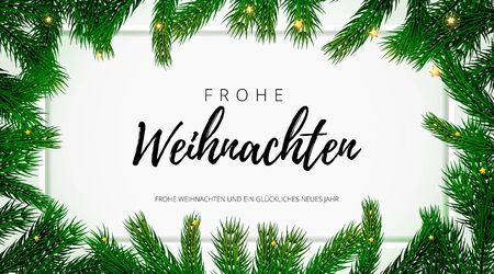 Merry Christmas German holiday greeting card with text calligraphy on Christmas fir tree background template. Vector stock fir branch frame of New Year festive winter decoration on premium frame white.