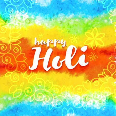 Abstract watercolor rainbow colorful Happy Holi vector illustration background with indian ornaments and flowers. Vektorgrafik