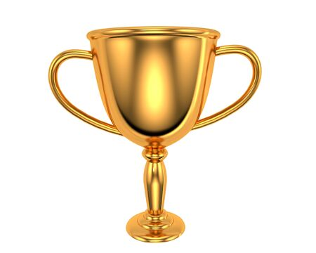 3D rendered Winners gold cup. Golden trophy bowl champion award isolated on white background