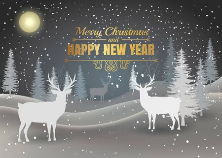 Christmas card. Holiday winter landscape. Winter christmas background with fir tree. Merry Christmas handdraw style lettering . Silhouettes of deer in a winter landscape. Vector illustration.